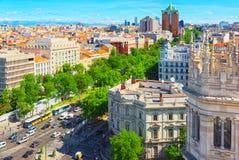 全景从上面在西班牙的首都M城市 图库摄影