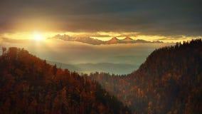 全景从Solkolica峰顶到Tatra山 库存图片