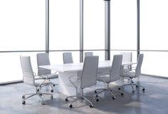 全景会议室在现代办公室,拷贝从窗口的空间视图 白色椅子和一张白色桌 库存例证