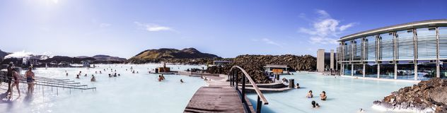 全景其中一种吸引力在冰岛 蓝色盐水湖11 06,2017 免版税库存照片