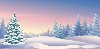 全景冬天的日出 免版税库存图片