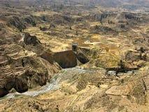 全景到科尔卡峡谷里,秘鲁 免版税库存照片