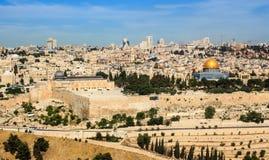 全景向耶路撒冷老市和圣殿山 免版税库存图片