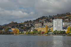 全景向蒙特勒和莱芒湖,瑞士 图库摄影