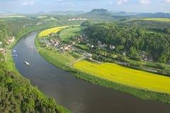 全景向从Bastei的撒克逊人的瑞士, Rathen,德国 免版税图库摄影