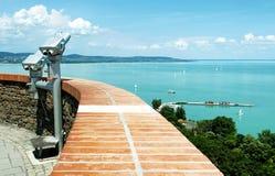 全景向从Tihany半岛的巴拉顿湖 免版税库存图片