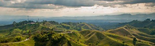 全景在哥伦比亚的咖啡三角区域 图库摄影
