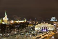 全景在夜莫斯科 免版税库存图片