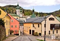 全景在Banska Stiavnica老采矿城市 免版税库存照片