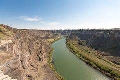 全景在Twin Falls,爱达荷附近的斯内克河峡谷 免版税库存图片