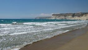 全景地中海和海滩 免版税库存图片