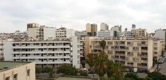 全景地平线和大厦在卡萨布兰卡,摩洛哥 图库摄影