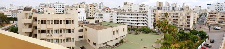 全景地平线和大厦在卡萨布兰卡,摩洛哥 免版税库存照片