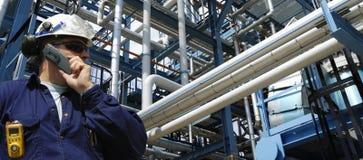 全景天然气产业的油 库存照片