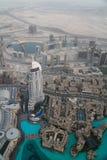 全景对迪拜摩天大楼,阿拉伯联合酋长国的日落视图 图库摄影