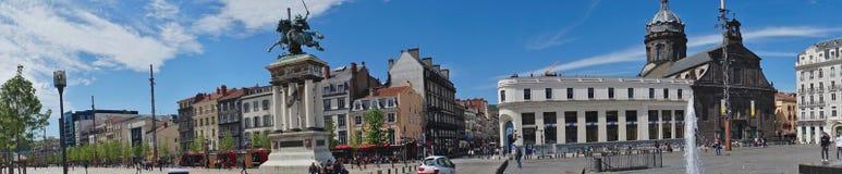 全景射击, Place de Jaude在克莱蒙费朗 库存照片