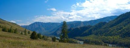 全景山风景在一个夏日 免版税图库摄影