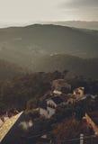 全景山风景在城市巴塞罗那 免版税库存图片
