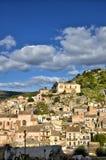 全景希克利,西西里岛,其中一个意大利巴落克式样符号城市,与其他7个诺托壁垒` s村庄一起 免版税库存照片