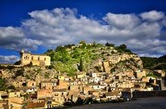 全景希克利,西西里岛,其中一个意大利巴落克式样符号城市,与其他7个诺托壁垒` s村庄一起 免版税库存图片