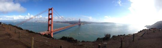 全景广角晴天金门桥旧金山加利福尼亚海洋海湾海 免版税库存照片