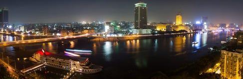 全景开罗的夜 库存照片