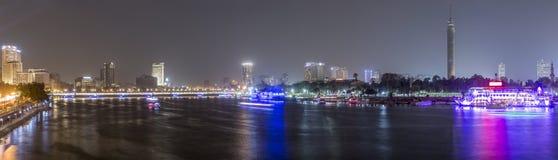 全景开罗的夜 免版税图库摄影