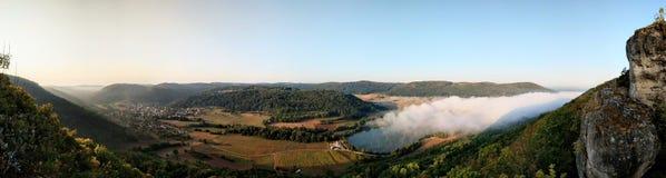 全景德国风景在日出 免版税库存照片
