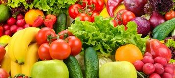 全景收藏健康水果和蔬菜 库存照片