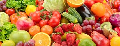 全景收藏健康水果和蔬菜 库存图片