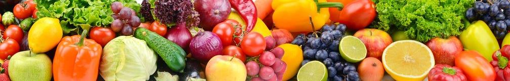 全景明亮的蔬菜和水果 背景许多饺子的食物非常肉 库存图片