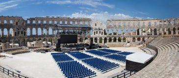 全景普拉的,克罗地亚罗马圆形剧场 免版税库存图片