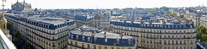 全景有从商店Printemps, P大阳台的鸟瞰图  免版税图库摄影