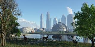 全景未来派城市 库存图片