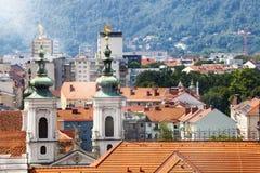 全景格拉茨,奥地利屋顶视图  免版税库存图片