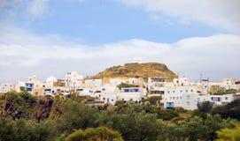 全景横向Plaka芦粟希腊海岛 免版税库存图片