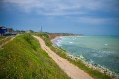 全景沙布拉Karya海滩保加利亚海 库存图片