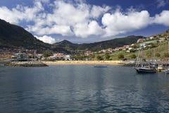 全景海边在Machico,马德拉岛 免版税库存照片