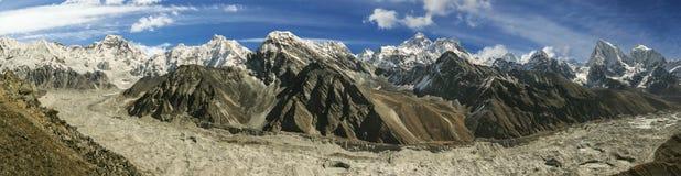 全景珠峰范围,尼泊尔 免版税库存照片
