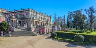 全景皇家城堡Queluz,辛特拉,葡萄牙 图库摄影