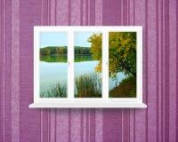 全景窗口有看法向森林湖 免版税库存照片