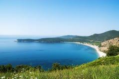 全景美丽的海滩贾兹在黑山,地中海 库存照片