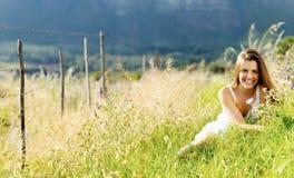 全景自由的女孩 图库摄影