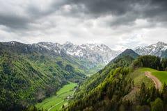 全景视图到朱利安阿尔卑斯山的谷里 免版税库存照片