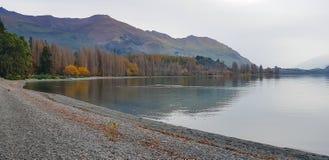 全景视图在Wanaka湖新西兰的风景视图在秋天 免版税库存照片