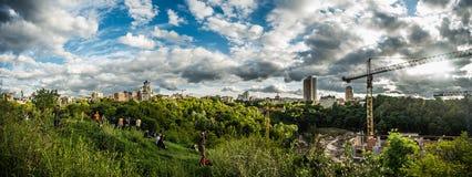 全景视图Kyiv,乌克兰风景 免版税库存照片