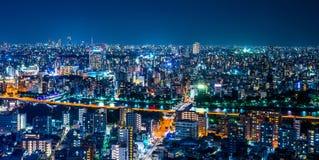 全景都市城市地平线鸟瞰图在暮色天空和氖夜下在东京,日本 免版税库存图片