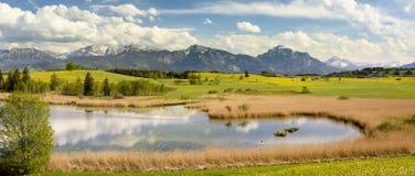 全景风景在有阿尔卑斯山的巴伐利亚 库存图片