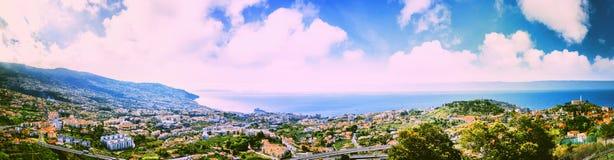 全景风景有丰沙尔,马德拉岛海岛看法  图库摄影