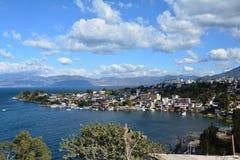 全景风景阿蒂特兰湖危地马拉 库存照片